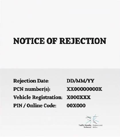Graphic mock-up of the information contained on a Notice of Rejection of Representations received from an authority