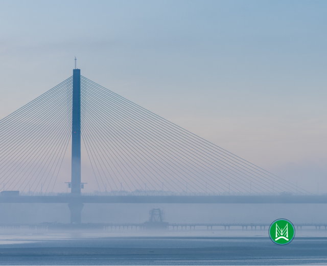 Photo of the Mersey Gateway Bridge with the Merseyflow logo
