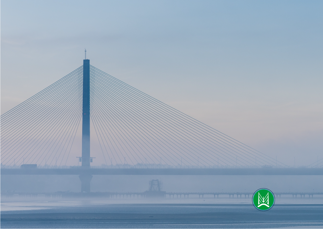 Photo of the Mersey Gateway Bridge with the Merseyflow logo