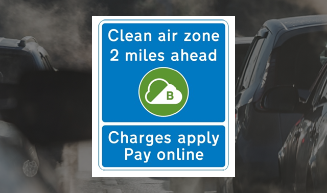 Stylised photo showing a Clean Air Zone road sign over a background of cars stuck in traffic emitting exhaust fumes