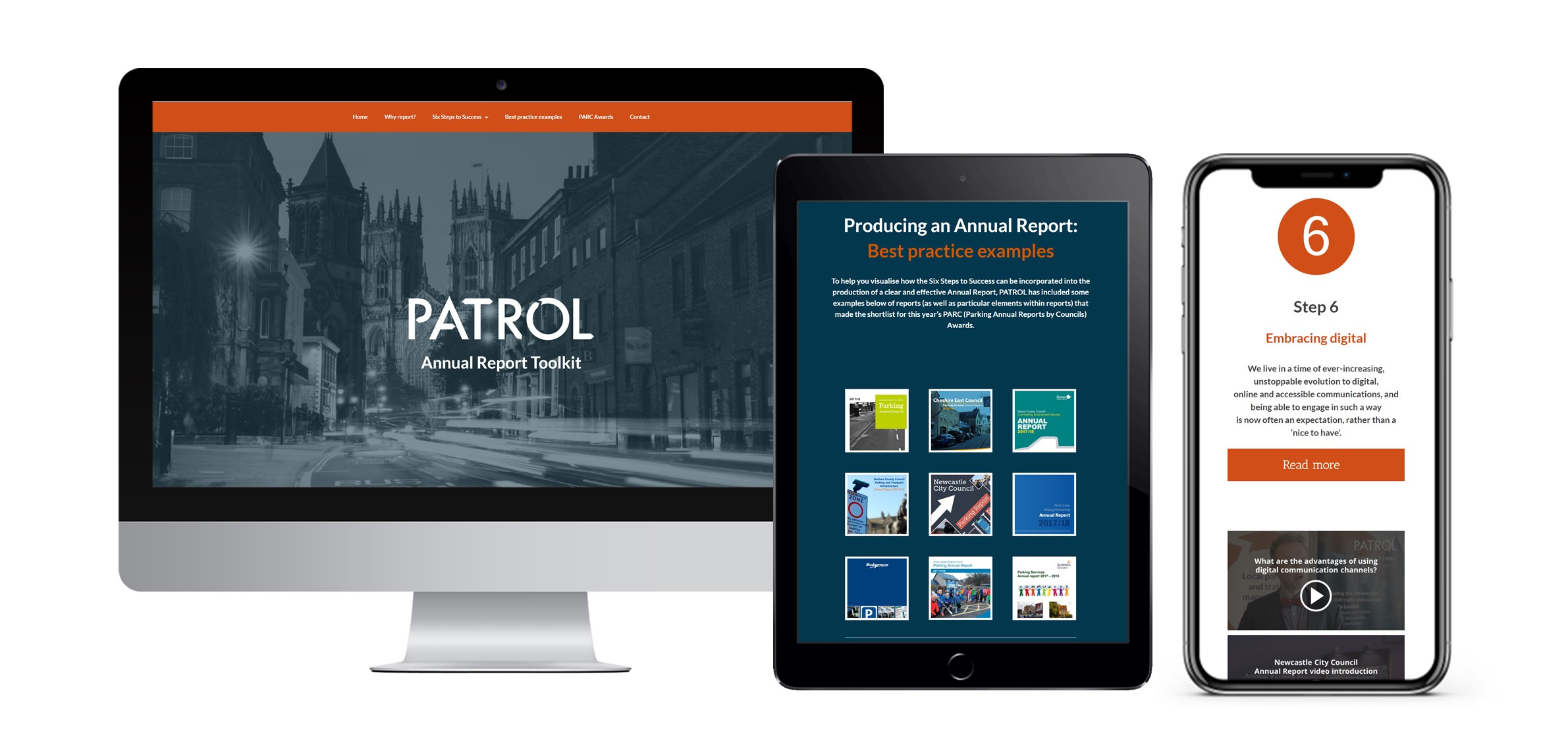 Screenshots of different sections of the PATROL Annual Report Toolkit, shown on a widescreen monitor, tablet and smartphone