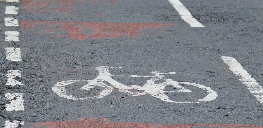 Close-up photo of UK cycle lane