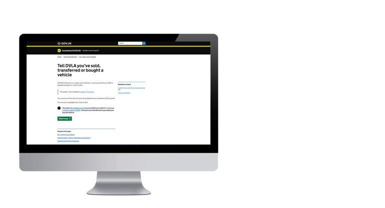 Image of computer monitor showing DVLA logbook website