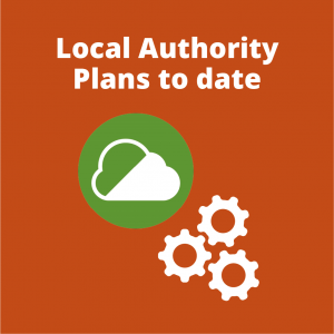 Clickable orange button showing action to view information on Local Authority Clean Air Zone plans with the words Local Authority Plans to date and a white cloud in a green circle indicating a Clean Air Zone and some white cogs