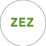 White sign with green lettering 'ZEZ' indicating Zero Emission Zone