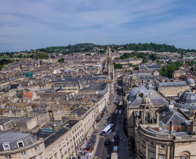Aerial view of Bath city centre in the subshine